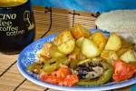 Молодой картофель соте с овощами гриль